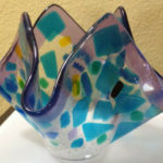 "Water colored handkerchief vase. Item number 16: 6"" by 6"""