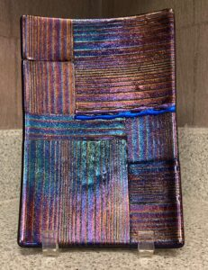 """Show stopper rainbow and textured irid plate with dichroic lines. Item number 203: 5 1/2"""" by 8 1/2"""". Price: $65.00"""