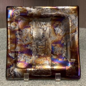 """Multiple colored textured irid plate. Item number 207: 8"""" by 8"""" square. Price: $50.00"""